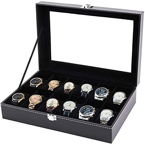 Tebery Mens Uhrenbox für 12 Uhren,...