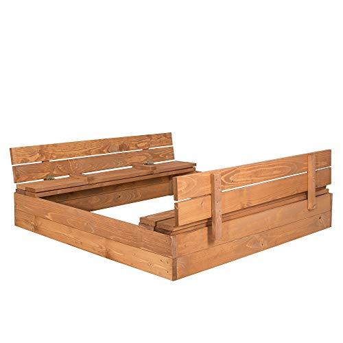 SPRINGOS Sandkasten mit Sitzbank, 120 cm...