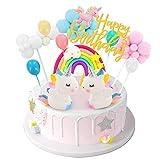 DUOUPA Tortendeko Einhorn Geburtstag Kuchen Regenbogen Happy Birthday Girlande Luftballon Wolke Kuchen Topper für Kinder Mädchen Junge