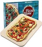 Praknu Pizzastein Rechteckig für Backofen und Grill - 38x30 cm - Für knusprigen Boden - Steinplatte aus Cordierit