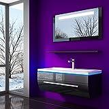 HOMELINE Badmöbel Set Schwarz 60 cm Vormontiert Badezimmermöbel Spiegel mit LED Hochglanz lackiert