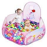 Likorlove Kinder Bällebad, Pop Up Baby Kugelbad Outdoor mit Mini Basketballkorb Bällepool Bällebecken Spielbälle Kugelbad Bällchenbad Spielbecken für drinnen und draußen 47 inch - Rosa