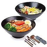 Porzellan-Suppenschüssel-Set, 2 x 1500 ml, 14-teiliges Set, große Nudelschalen mit Löffel und Stäbchen, für Udon, Pasta, Pho, Soba, Müsli und Salat, japanischer Stil, traditionell handgefertigt