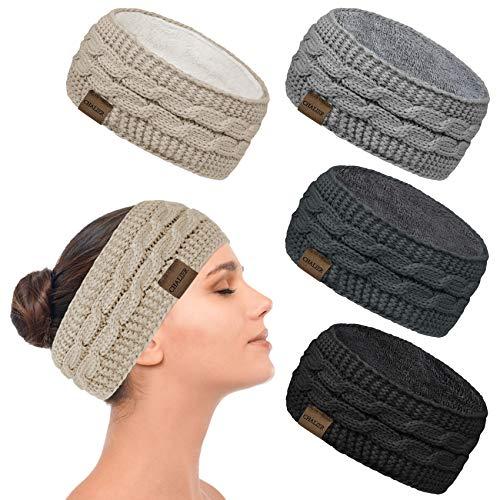 4 Pcs Winter Gestrickte Stirnband Damen...
