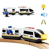 Tiny Land Batteriebetriebener Lokomotivzug (Magnetanschluss) - Leistungsstarker Motor-Hochgeschwindigkeitszug für Thomas Chuggington Holzzug und Gleis - Spielzeugauto für Kleinkinder
