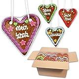 10 Stück Lebkuchenherzen mit verschiedenen Sprüchen im Mischkarton - 14cm - Lebkuchenherz Mitbringsel und Deko für Geburtstagsparty - Lebkuchen Herzen günstig kaufen | LEBKUCHEN WELT
