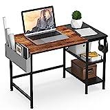 HOMIDEC Schreibtisch, Computertisch PC Tisch mit Aufbewahrungstasche & Kopfhörer Halter, Bürotisch Schreibtisch Holz Officetisch fürs Büro, Wohnzimmer, Home, Office,100x75x50cm