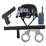 NET TOYS Polizist Einsatzset für Kinder mit Helm, Schlagstock, Pistole, Walkie Talkie u. Handschellen Polizei Ausrüstung Karneval Spielzeugwaffen Polizistin