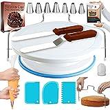 Tortenplatte, drehbar, mit rutschfester Unterlage, gerader und versetzter Spatel, 3 Glätter, Schaber, EBook-Cake-Dekorationszubehör für Anfänger, Backwerkzeuge und Zubehör
