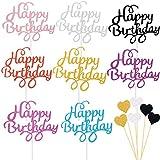 BOYATONG 54 Stücke Cake Topper,Kuchen Deko,Glitzer Cupcake Topper,Happy Birthday Kuchendekoration Cake Toppers,Glitter torten Topper Geburtstag,Cupcake Topper für Motto Party Torte Dekoration